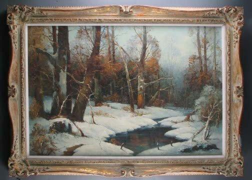 3017: W. SCHATZ WINTER FOREST.  20th c.  Oil on canvas.