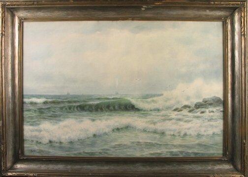 3018: G.H. FLAVELLE SEASCAPE.  20th c.  Watercolor on p