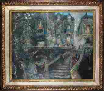 3055: A. GIOVANETTI NIGHT IN ROME.  20th c.  Oil on can