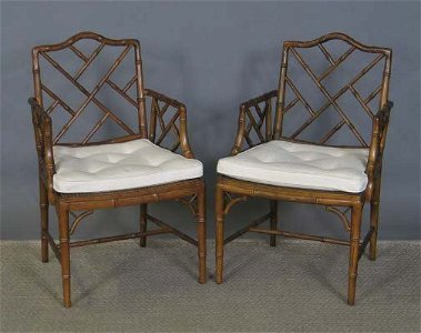 3119: 4 FAUX BAMBOO ARMCHAIRS.  Regency style with came