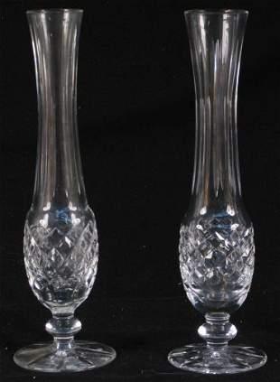 2 WATERFORD BUD VASES. Two Waterford crystal bud