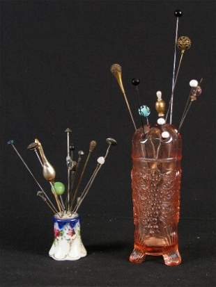 25 HATPINS & TWO HOLDERS. Lot includes vintage ha
