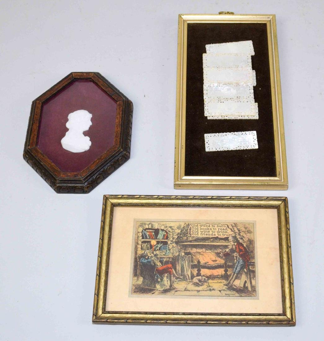 (3) ANTIQUE FRAMED ITEMS. Largest: 11''H x 5.5''W.