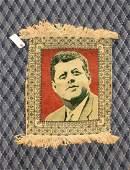 ORIENTAL RUG, JFK pictorial. 17''L x 15''W.
