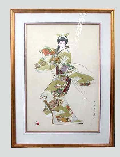 """1002: OTSUKA """"LADY MIEKO"""" FALL PRINT. Otsuka,"""
