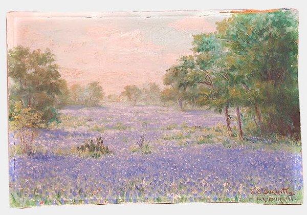1011: FIELD OF PURPLE FLOWERS OIL ON BOARD. S