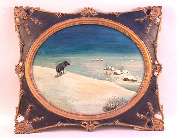 1015: REVERSE PAINTING OF WOLF AND VILLAGE. A