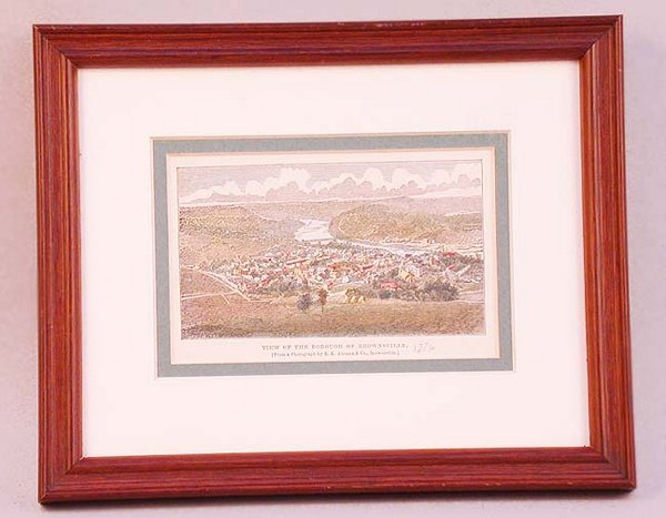 1017: COLOR WOOD ENGRAVING OF BROWNSVILLE. Th
