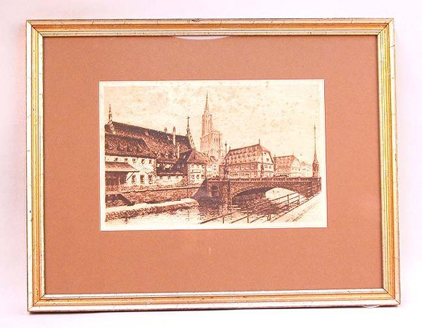 1021: ARCHITECTURAL ETCHING OF STRASBOURG. Si