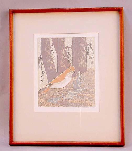 1024: JAMES HAVENS COLOR WOODCUT OF BIRD. Hav
