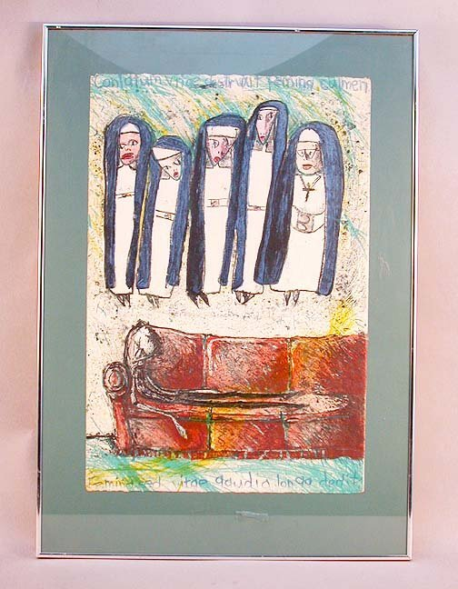 1026: WEIRD NUNS LITHOGRAPH & INK DRAWING. Th