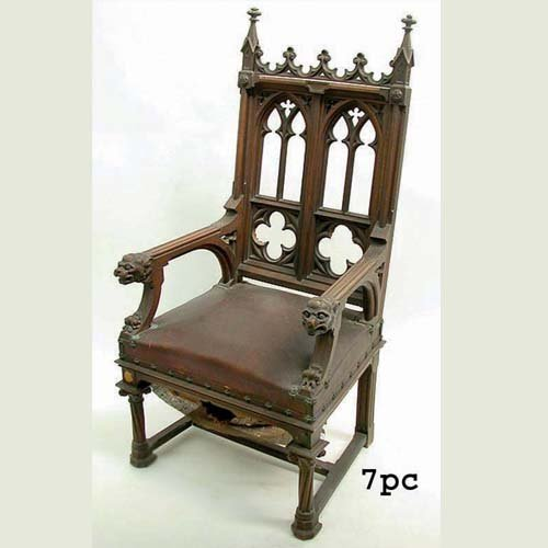 2018: SEVEN GOTHIC REVIVAL C.1845 CHAIRS. N/R
