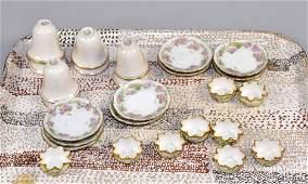 COLLECTION OF PORCELAINS including Beleek salts Lenox
