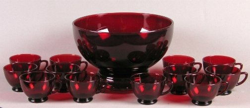 1534: RED PUNCH BOWL AND CUPS