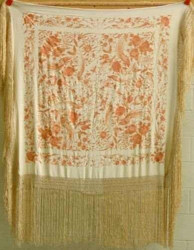 1547: EMBROIDERED SILK SHAWL