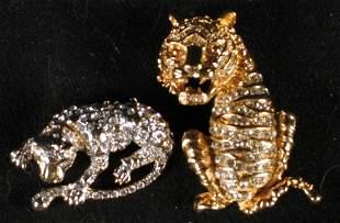 AUSTRIAN CRYSTAL CAT PINS.