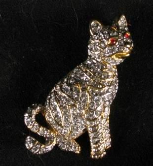 AUSTRIAN CRYSTAL CAT PIN.
