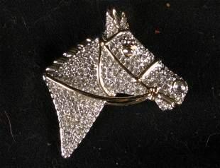 CRYSTAL HORSE HEAD PIN.