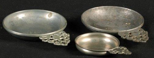 1873: THREE PEWTER PORRINGERS