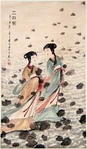 1454: CHINESE SCROLL LADIES, LEAVES.