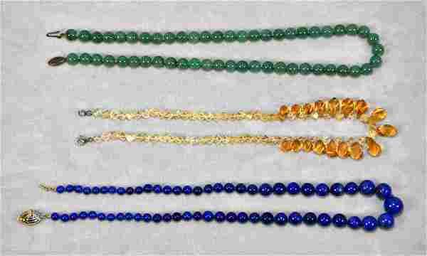 (3) ASST. VINTAGE ART GLASS NECKLACES. W/925 or 14K