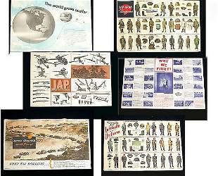 TWELVE ARMY NEWSMAPS. WW II era. Six do