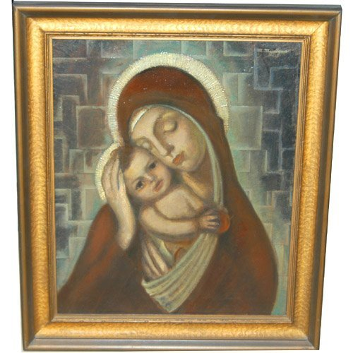 1011: MADONNA & CHILD BY MANDGAN. N/R. Oil on