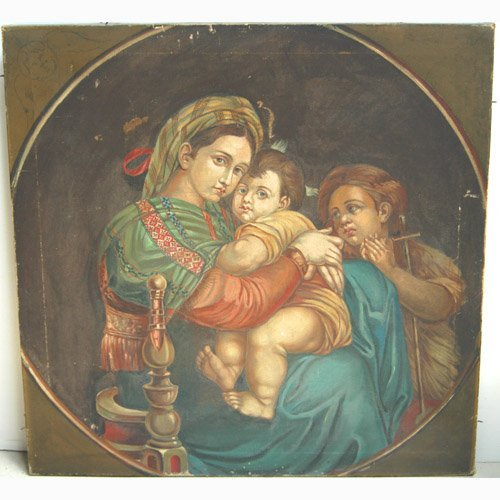 1012: MADONNA AFTER RAPHAEL. N/R. Oil on canv