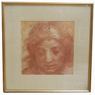 FRAMED ANGEL PRINT. N/R. Print of an an