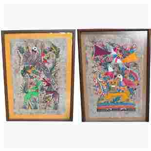 CHINESE TEMPERA ON PAPER. N/R. Two fram