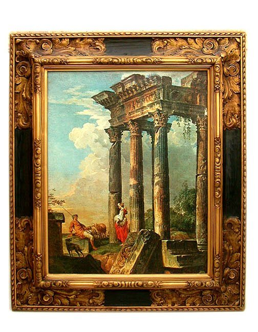 1076: PRINT ON CANVAS OF 18TH C. OIL. Photome