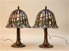 1687: PR. DALE TIFFANY LAMPS. N/R. Pair leade
