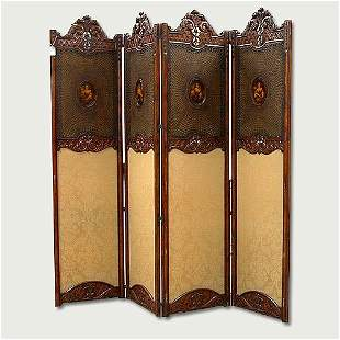 CARVED AND UPHOLSTERED SCREEN French or