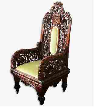 SCOTTISH CARVED CHAIR. N/R. Wood. Carve