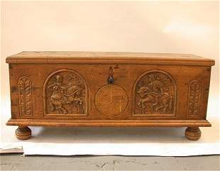 SWISS CARVED 1659 CHEST. N/R. Walnut. S