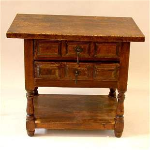TWO DRAWER TABLE. N/R. Wood. Small two