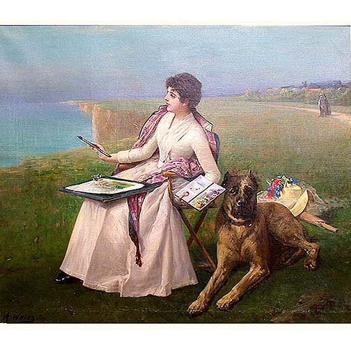 2567: WEISZ OIL PAINTING OF A WOMAN. 19th cen