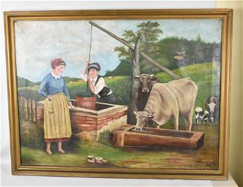 LARGE NA�VE FOLK ART OIL ON CANVAS PAINTING: 1884