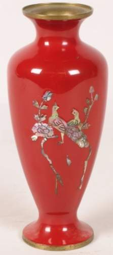 LACQUER MOTHER OF PEARL VASE