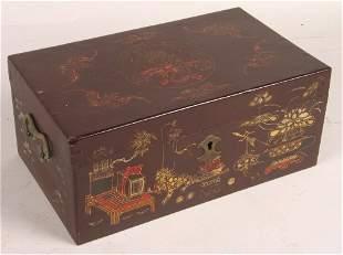 ASIAN DECORATED WOOD BOX.