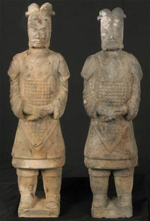 TWO CHINESE TOMB FIGURES