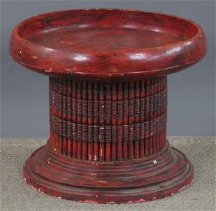 RED LACQUER DRUM TABLE