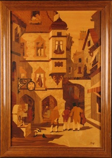 1632: GERMAN INLAID WOOD SCENE.