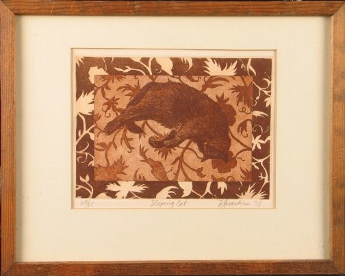 1943: D. GUARDINO SLEEPING CAT ETCHING.