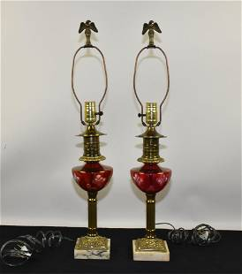 TABLE LAMPS - Pair. Cranberry bowl shaped font