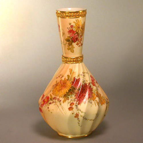 2007: ROYAL WORCESTER VASE. Hand painted with
