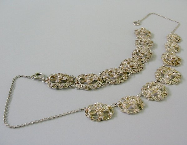 15: STERLING FILIGREE SET N/R.