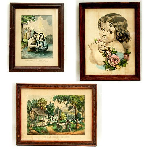 1006: THREE CURRIER & IVES LITHOS.