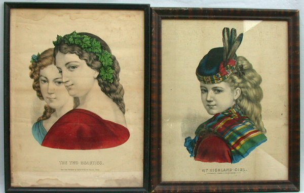 1022: PAIR CURRIER & IVES GIRLS.