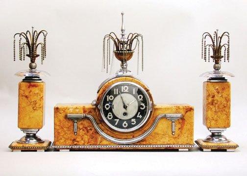 2023: ART DECO MANTLE CLOCK SET.
